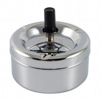Aschenbecher Schleuderascher 11cm Metall chrom-chrom