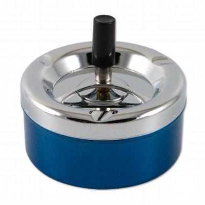 Aschenbecher Schleuderascher 11cm Metall blau-chrom