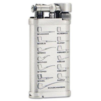 Pfeifen-Feuerzeug IM Corona Old Boy chrom mit Pfeifenmotiv