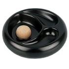 Pfeifen-Aschenbecher Keramik schwarz mit 2 Ablagen rund