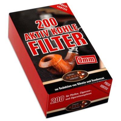 Pfeifenfilter ERMURI 9mm Kohlefilter 200er Packung