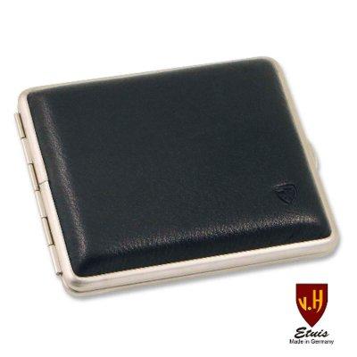 Zigaretten-Etui Leder schwarz für Normal-Format
