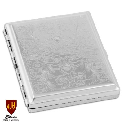 Zigaretten-Etui 18er Venetian chrom poliert mit Clip / Normal-Format