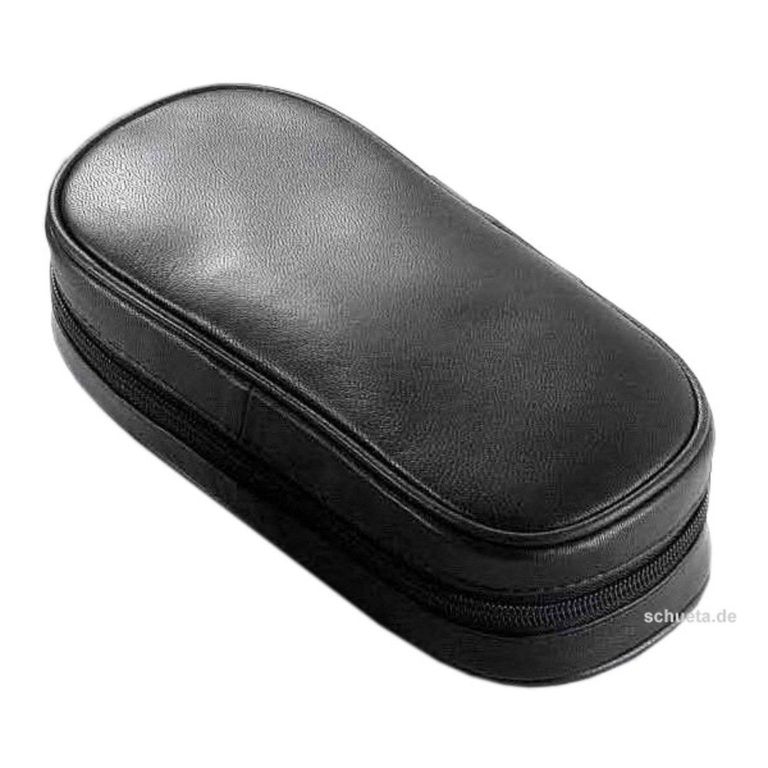 Pfeifentasche 2er Leder schwarz