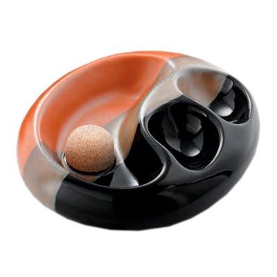 Pfeifen-Aschenbecher Keramik schwarz/braun mit 2 Ablagen oval