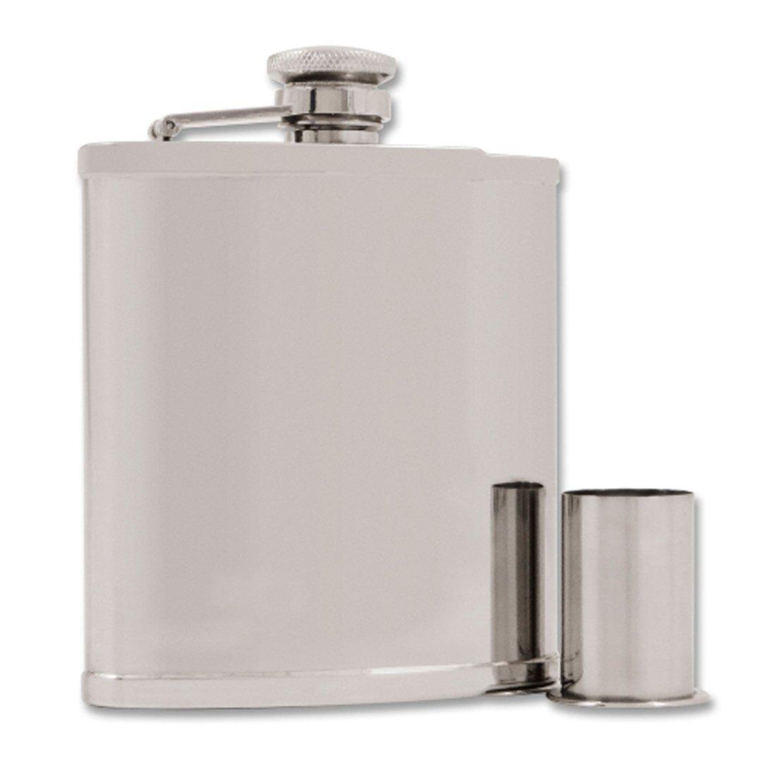 Taschenflasche / Flachmann Edelstahl verchromt inkl. 2 Becher integriert