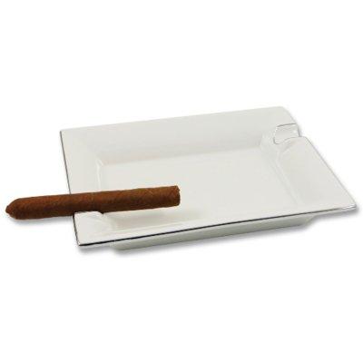 Zigarrenaschenbecher weiß mit Silberrand Porzellan