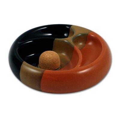 Pfeifen-Aschenbecher Keramik schwarz/braun mit 2 Ablagen rund