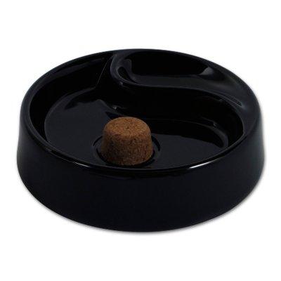 Pfeifen-Aschenbecher Keramik schwarz mit 1 Ablage rund