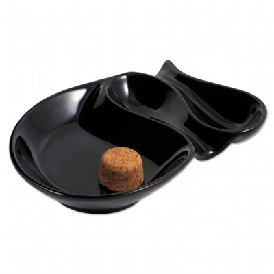 Pfeifen-Aschenbecher Keramik schwarz mit 2 Ablagen