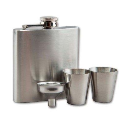 Taschenflasche / Flachmann 180 ml Set mit Trichter und Becher