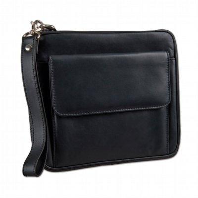 Pfeifentasche 6er Leder schwarz mit Vortasche und Dosenfach