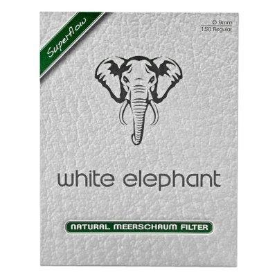 Pfeifenfilter WHITE ELEPHANT Superflow Naturmeerschaum 9 mm 150er Packung