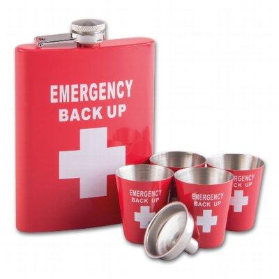 Taschenflasche / Flachmann Edelstahl Emergency-Back Up inkl. 4 Becher und Trichter