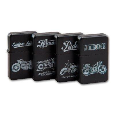 Benzinfeuerzeuge ATOMIC Motorcycle 12 Stück auf Display. Preis/Stück € 4,99