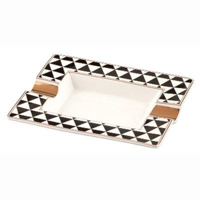 Zigarrenascher Porzellan New Bone China ANGELO Motiv Dreiecke 2 Ablagen